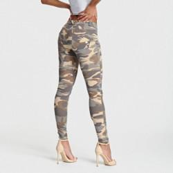 spodnie z elastycznego jerseyu o fasonie slimtalia ze ściągacza regulowana z troczkiemz przodu cięte kieszenierozpinana kieszonk