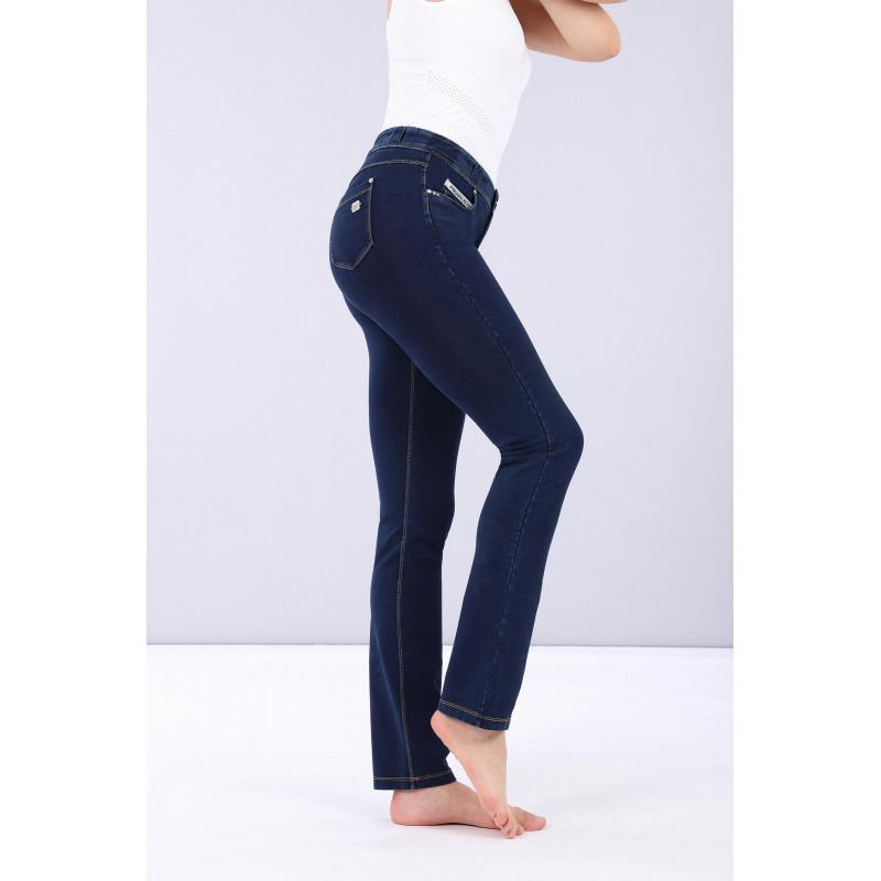 N.O.W.® Pants Denim - Straight ze średnim stanem - Ciemnoniebieski z żółtymi szwami - J0Y