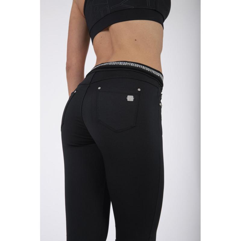 N.O.W.® D.I.W.O.® Yoga - Spodnie Skinny z podwijanym pasem w kolorze czarnym