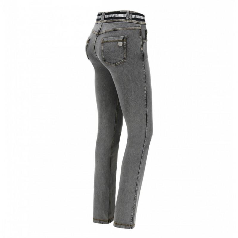N.O.W.® Pants Denim - Straight ze średnim stanem - Szary - J3Y