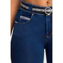 WR.UP® Denim - Spodnie Skinny ze średnim stanem w kolorze niebieskim z żółtymi szwami