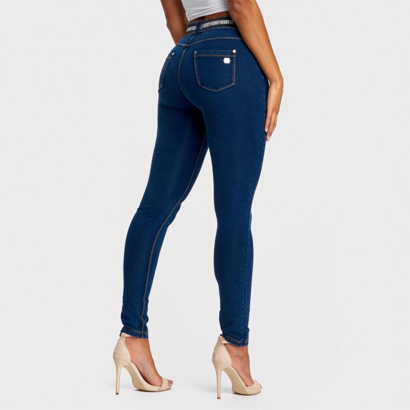 N.O.W.® Pants Denim - Skinny ze średnim stanem - Ciemnoniebieski z żółtymi szwami - J0Y