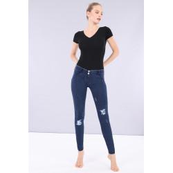 WR.UP® Denim - Spodnie Skinny z wysokim stanem w kolorze ciemnoniebieskim z niebieskimi szwami