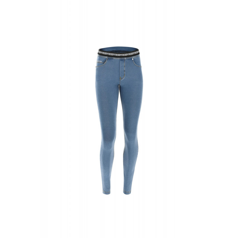 WR.UP® Denim - Spodnie Skinny ze średnim stanem w kolorze niebieskim z niebieskimi szwami