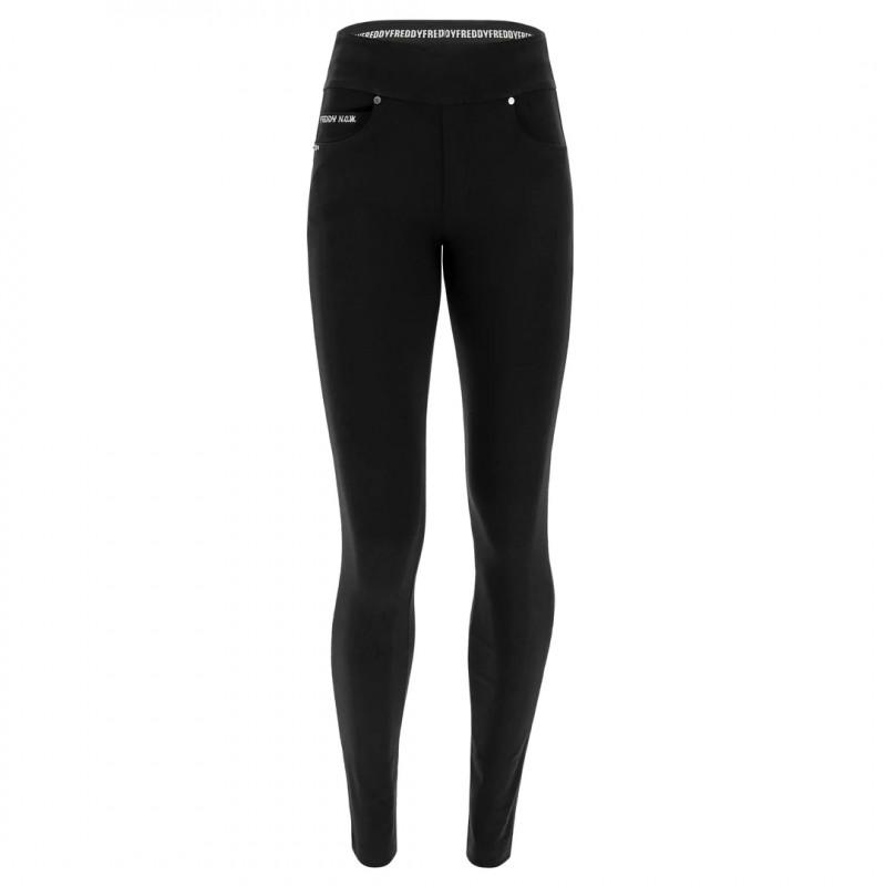 N.O.W.® Yoga Classic - Skinny z podwijanym pasem - Czarny - N0