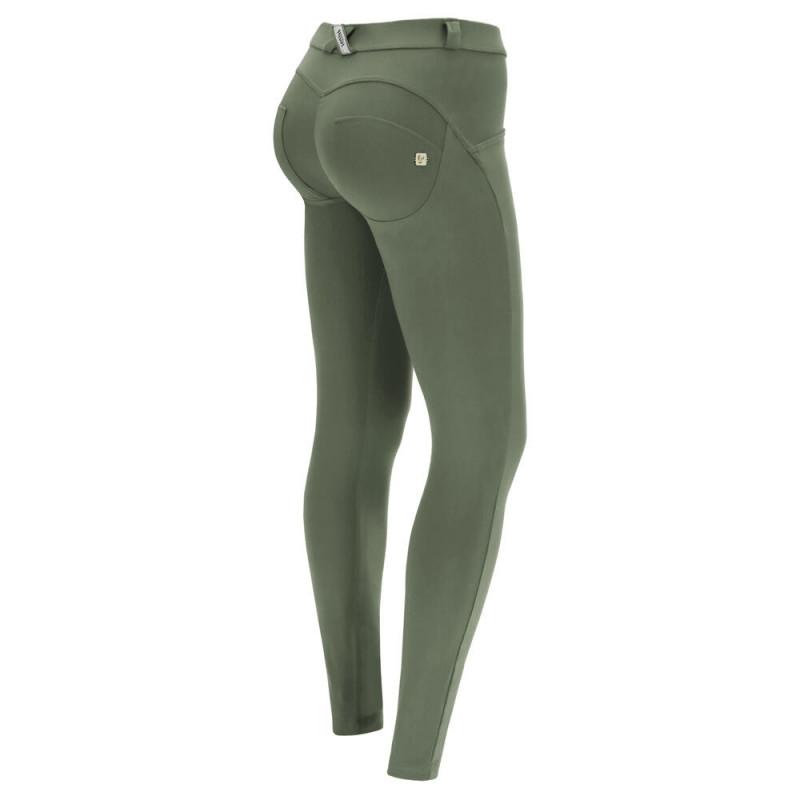 WR.UP® Classic - 7/8 Regular Waist Skinny z biało-zielonymi paskami z boku