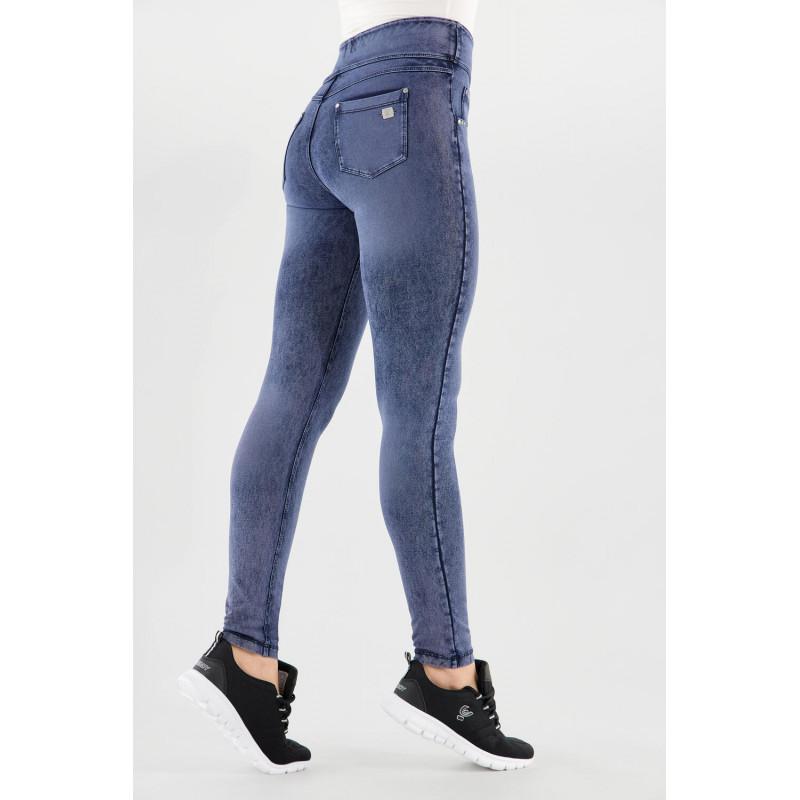 N.O.W.® Yoga - Spodnie Skinny z podwijanym pasem - z efektem marmuru - J53B