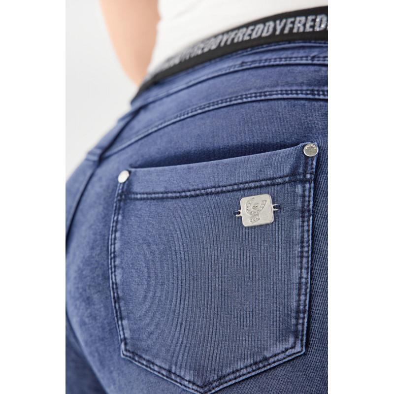 WR.UP® - Spodnie Skinny z regularnym stanem w kolorze czarnym z paskami z boku