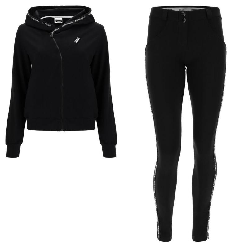 WR.UP® Denim - Spodnie Skinny z regularnym stanem w kolorze niebieskim z czarną wstawką