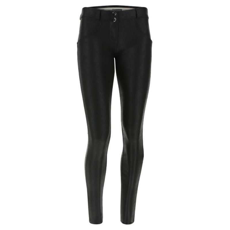 WR.UP® Denim - Spodnie Skinny z niskim stanem w kolorze czarnym z czarnymi szwami