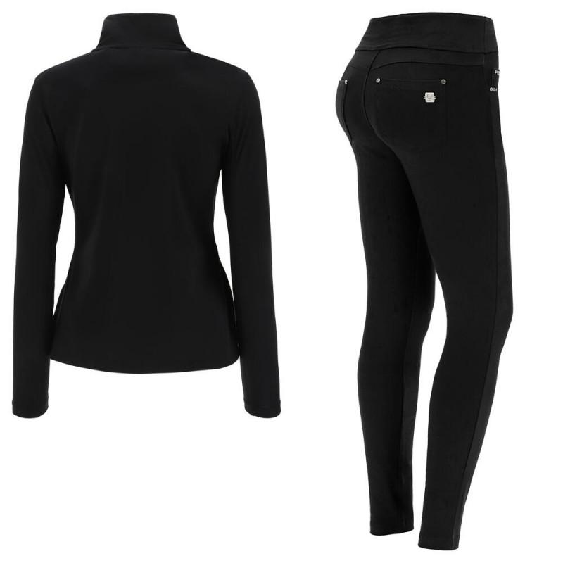WR.UP® Denim - Spodnie Skinny z niskim stanem w kolorze czarnym z żółtymi szwami