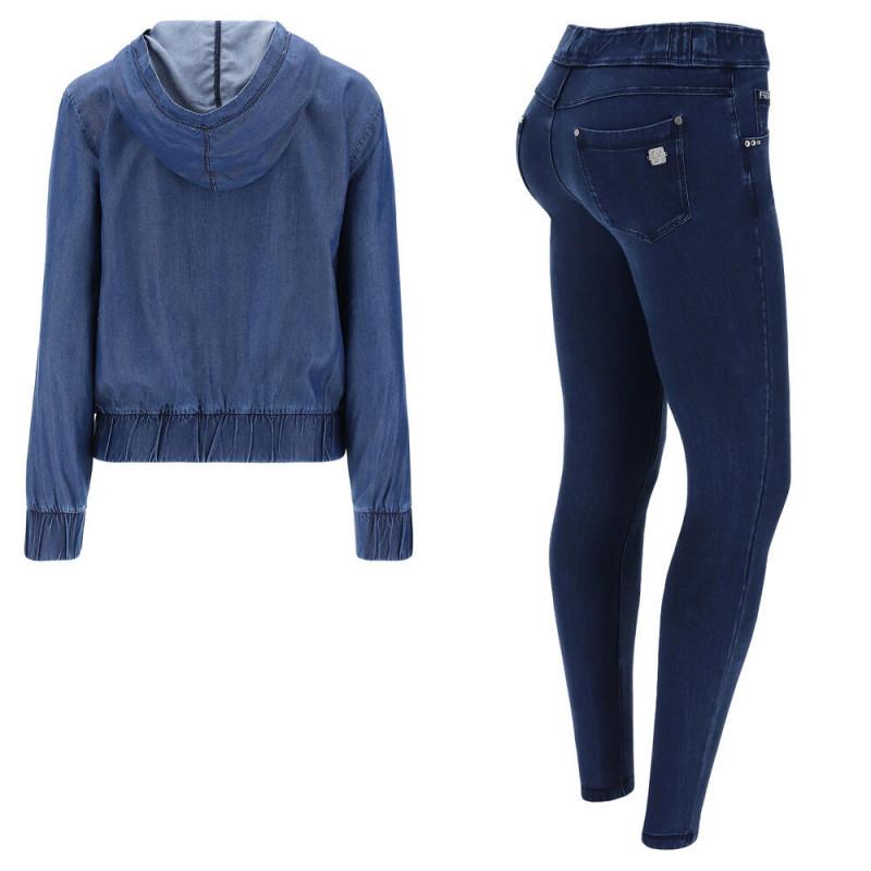 WR.UP® Denim - Spodnie Skinny z regularnym stanem w kolorze czarnym z żółtymi szwami