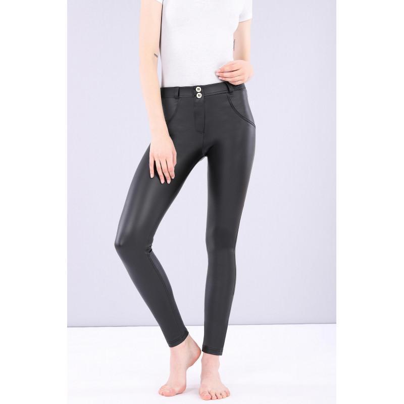 WR.UP® Ekoskóra - Spodnie Skinny z regularnym stanem w kolorze czarnym