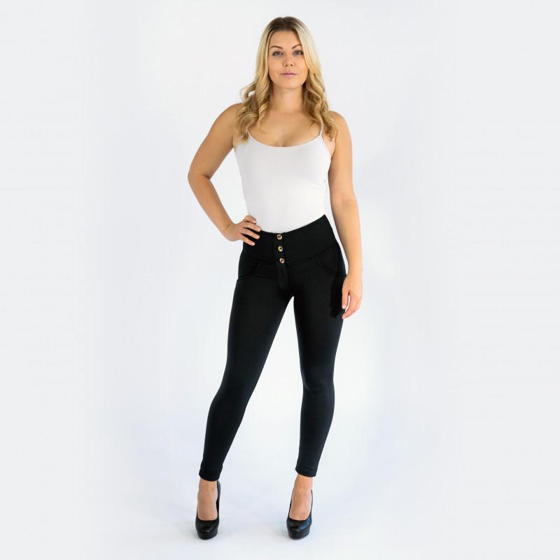 WR.UP® - Spodnie Skinny z regularnym stanem w kolorze czarnym z efektem zużycia