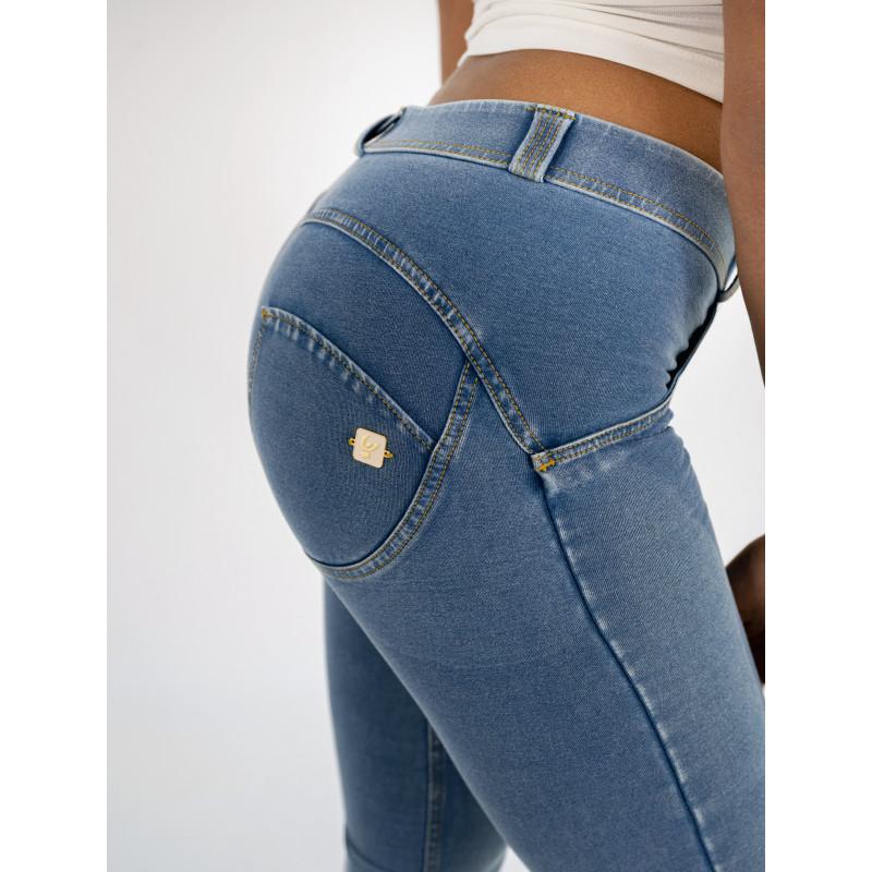 WR.UP® Denim - Spodnie Super Skkiny z wysokim stanem w kolorze niebieskim